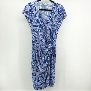 Maggy London Blue White Leaves Tropical Wrap Dress